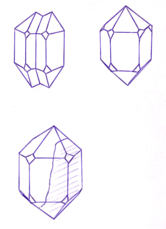 Illustration is free for non-commercial educational uses Quartz Crystals Drawing